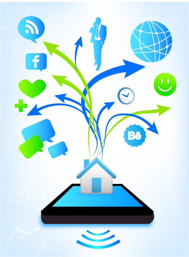 スマートフォンの可能性を表現した背景 Smart phone possibilities イラスト素材