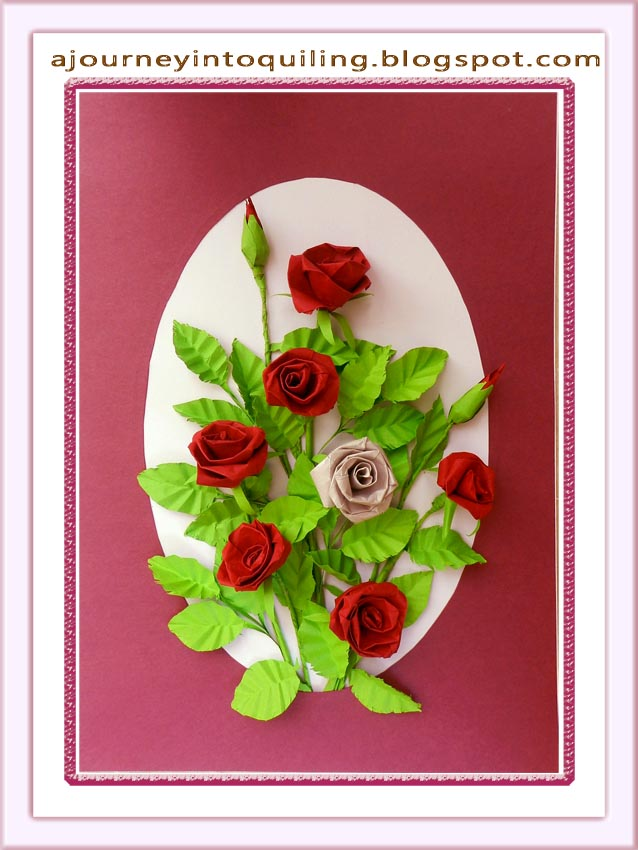 A journey into quilling paper crafting quilled flower frame a quilled flower frame a bouquet of roses mightylinksfo
