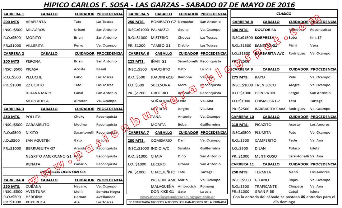 LAS GARZAS - PROGRAMA SABADO 7