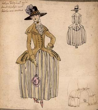 costume designs for Madame du Barry fashion history sketches