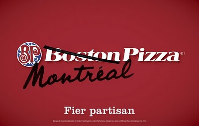 Boston Pizza sign with Boston crossed out and Montreal written in