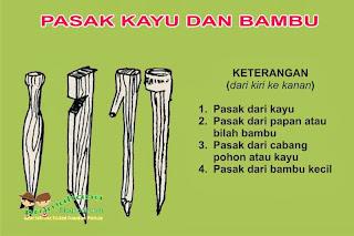 pasak kayu dan bambu - pramukaria