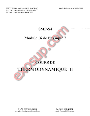Cours thermodynamique II SMP3