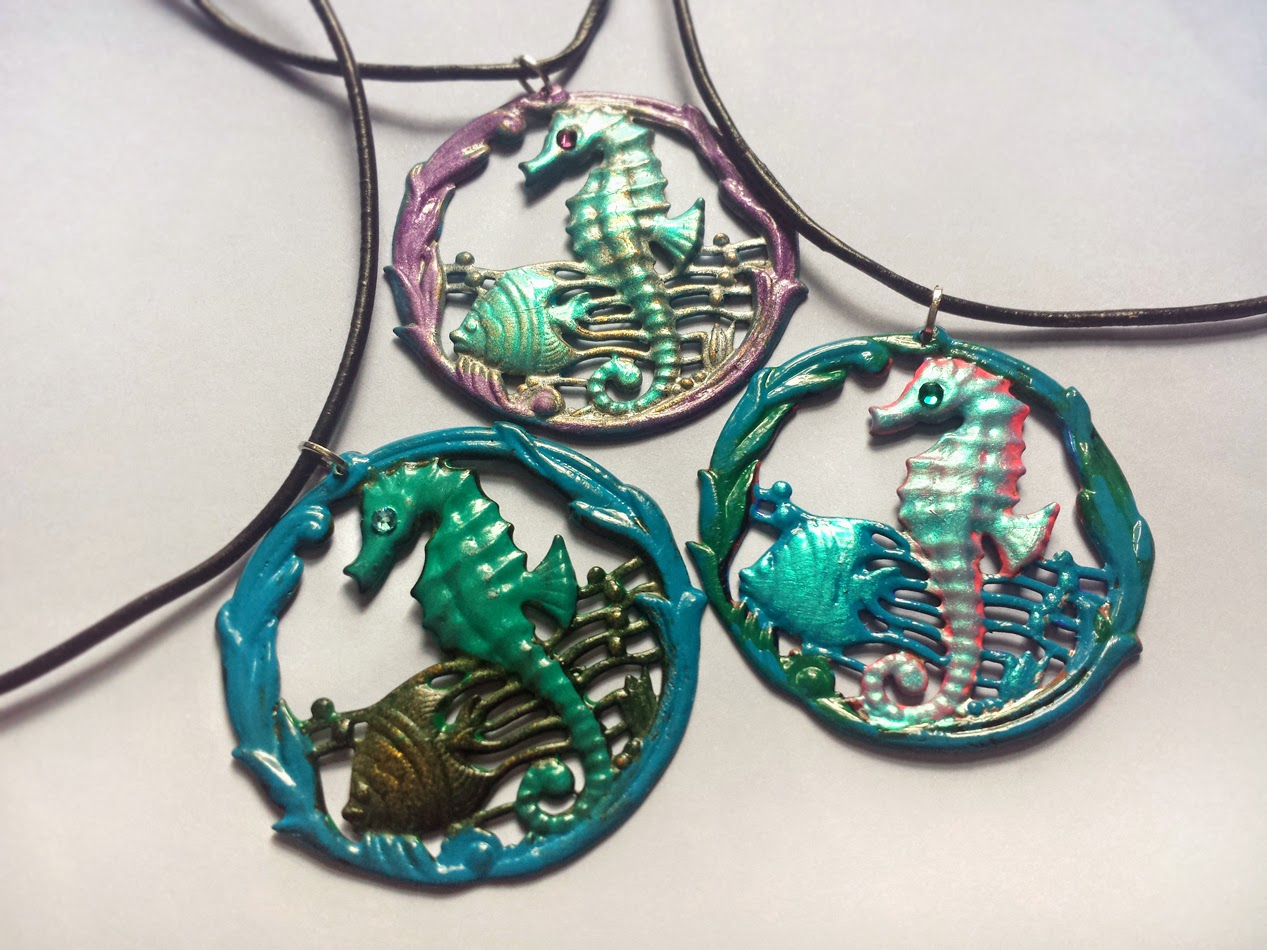 Bionic unicorn crystal jewelry iridescent seahorse necklaces say hello to mystical mermaid style with these iridescent seahorse necklaces hand painted seahorse pendants in playful aquatic shades of teal turquoise aloadofball Choice Image