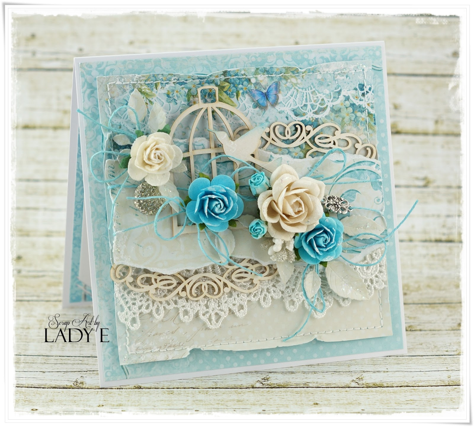 Romantic Card With Bird Cage Wild Orchid Crafts Dt Lady