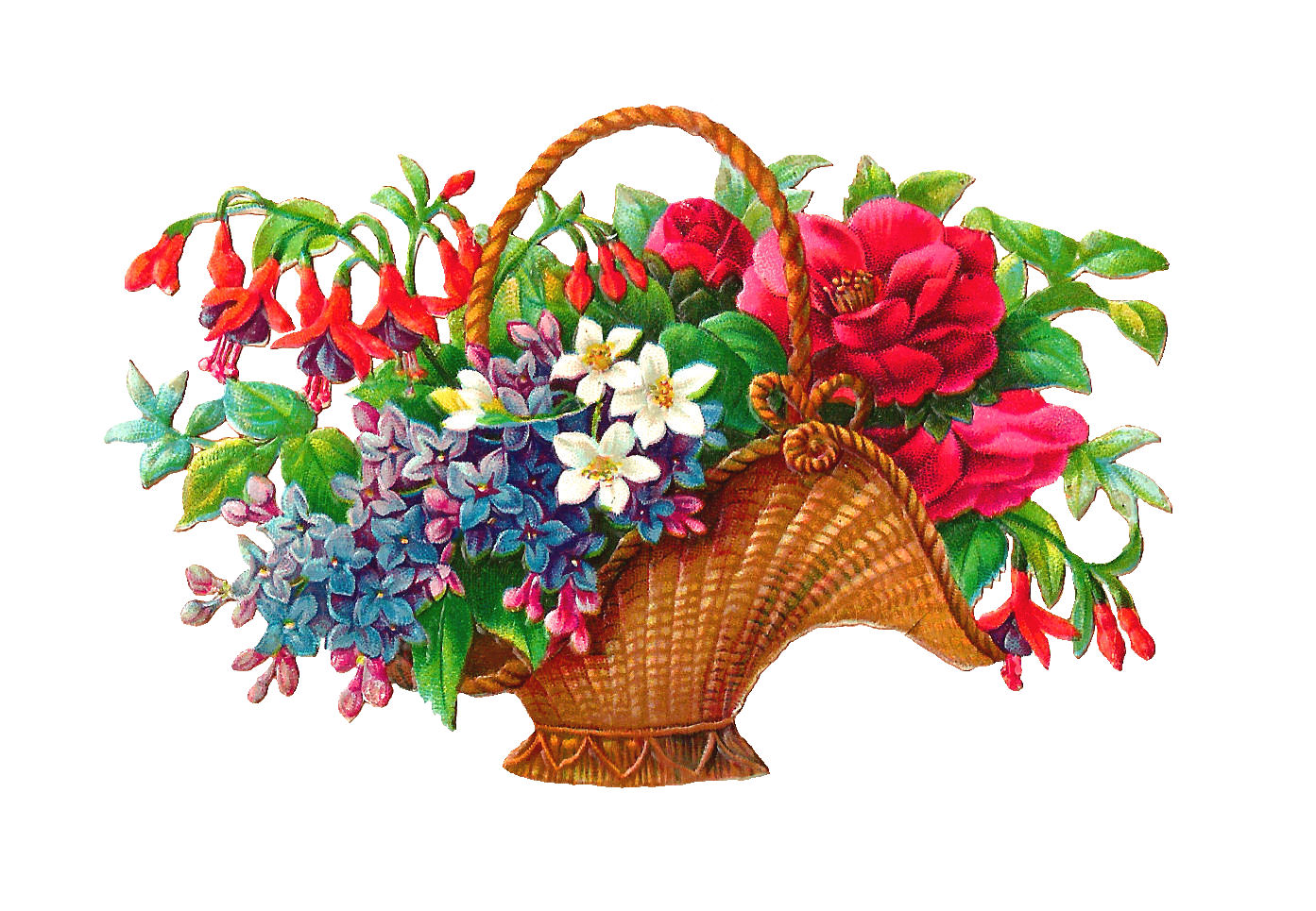 Antique Images: Free Flower Basket Clip Art: 2 Wicket ...