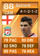 Steven Gerrard (IF2) 88 - FIFA 12 Ultimate Team Card