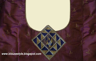 stone work back neck blouse