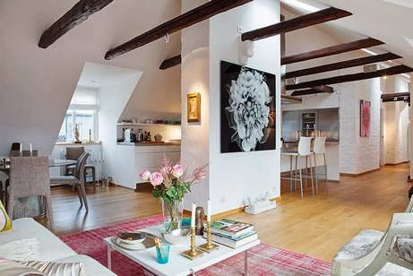 Decorative ceiling beams, wood beams in the interior