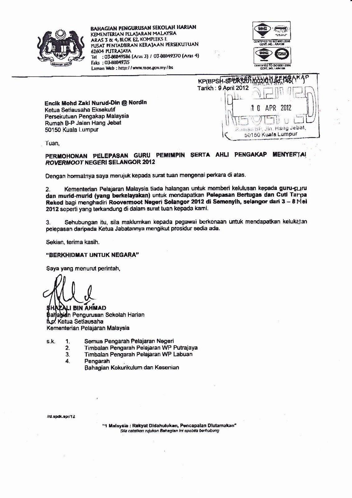 Sekretariat Kelana Selangor Surat Pelepasan Guru Pemimpin Murid Tingkatan 6 Ke Rovermoot Selangor 2012