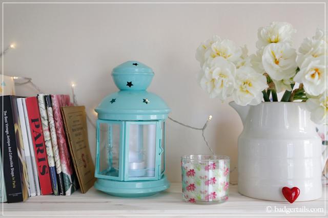 Mint Green Candle Lantern on Bookshelves