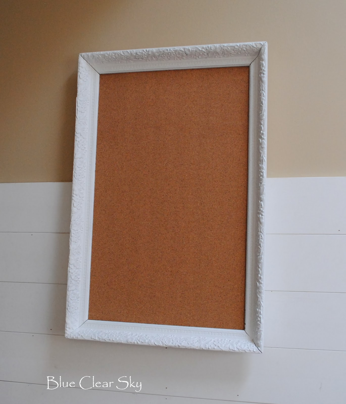 Rustic Maple Painted White Framed Corkboard