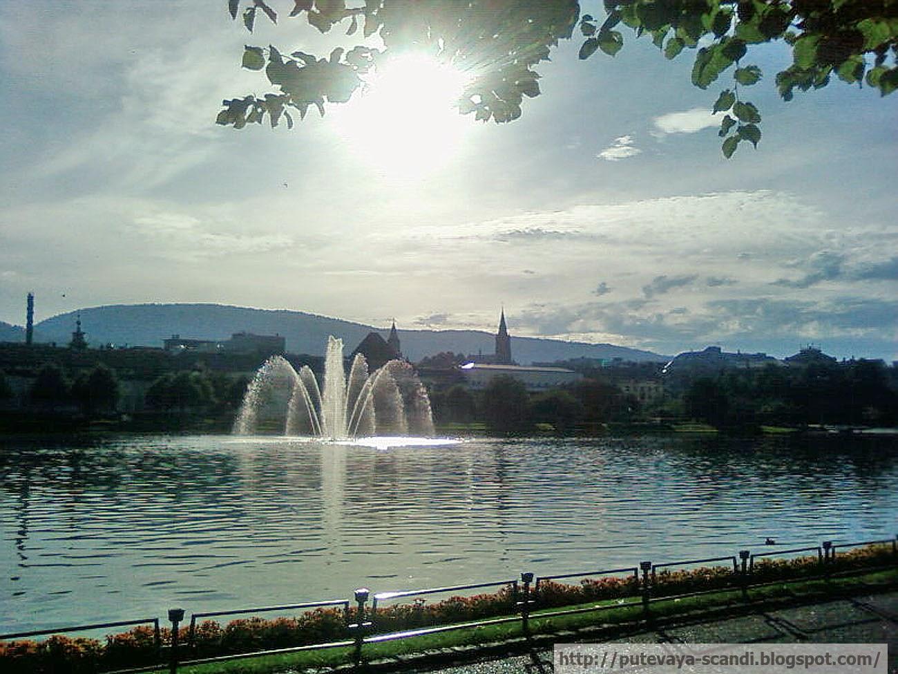 Берген. Озеро в городском парке
