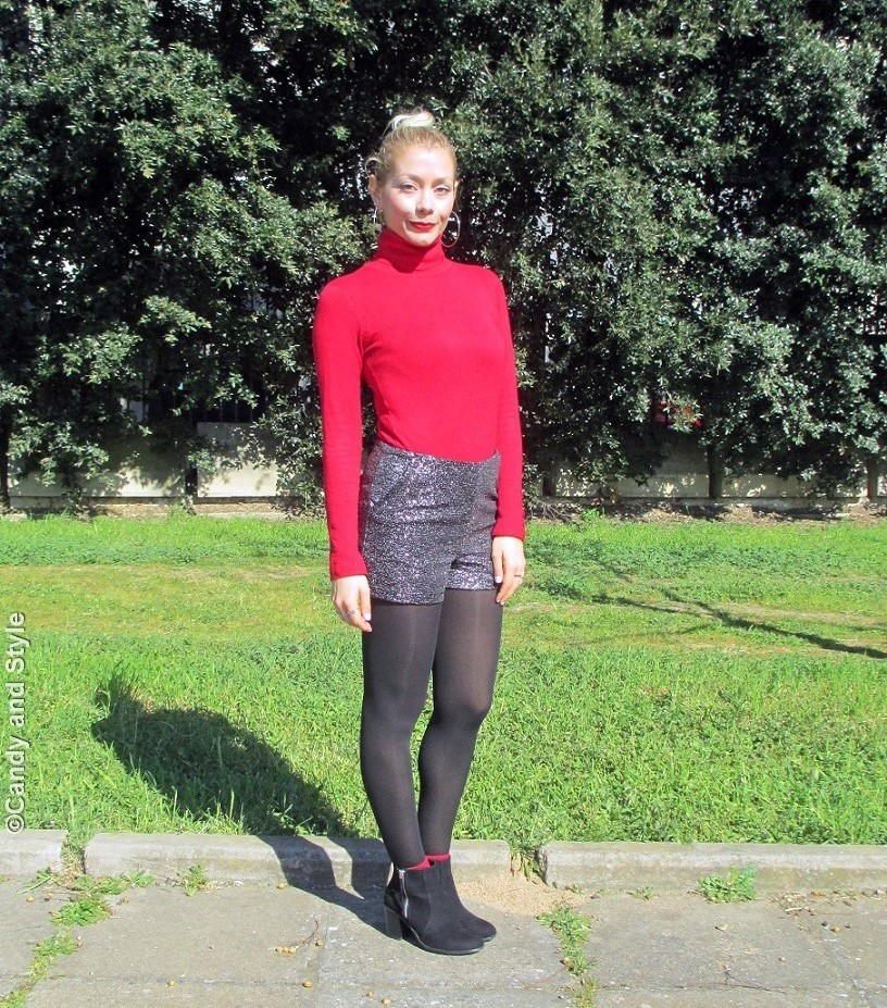 RedTurtleneck+SilverShorts+AnkleBoots+TopKnot+RedLips - Lilli Candy and Style Fashion Blog