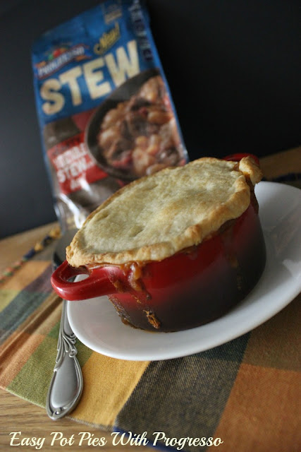 These individual biscuit pot pies with savory stew from Progresso are quick to throw together for a weeknight meal.