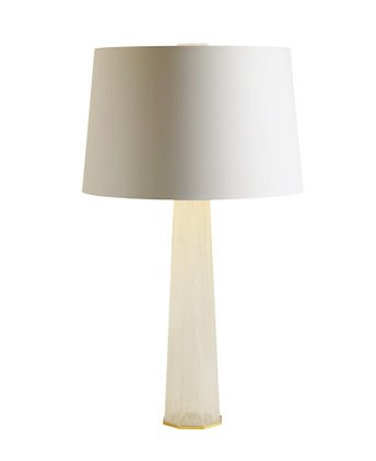 White Murano glass table lamp with white shade by Thomas Pheasant