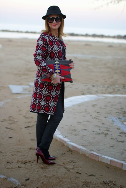 Mohekann Navajo clutch, Zara pinstripe pants, knit coatigan, Fashion and Cookies, fashion blogger