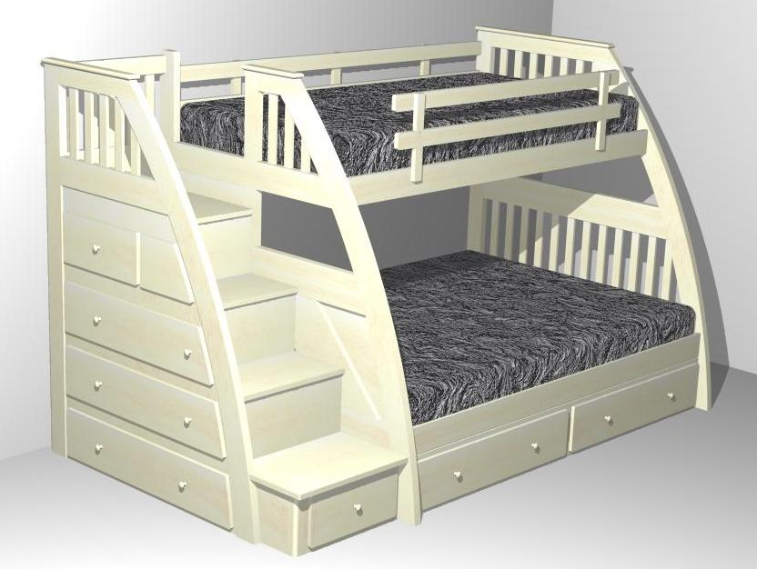 F one 39 s bed stairway bunk bed for 3 beds in one bunk bed