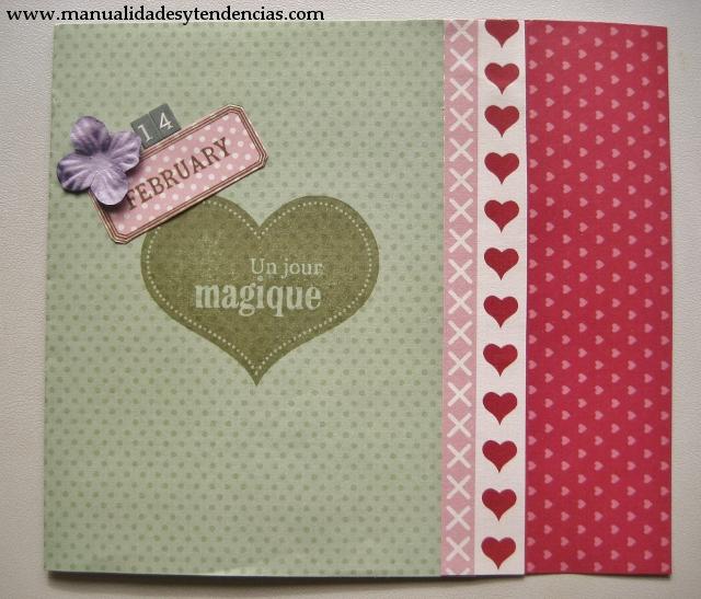 Scrapbooking: tarjeta de San Valentín / Valentin's day card / Carte de Saint Valentin