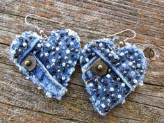jeans recycling earrings