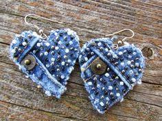 jeans recycling earrings