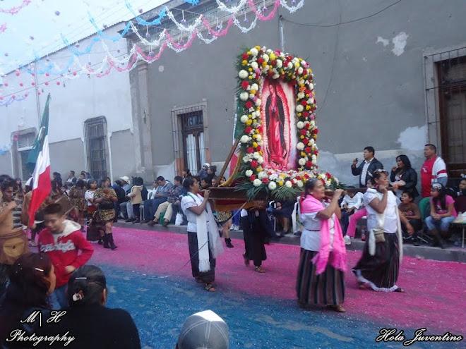 Indias cargando una Imagen de la Morenita