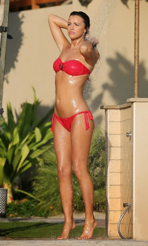English:Lucy Mecklenburgh Red Bikini strawberry Dubai February‭ ‬9,‭ ‬2014
