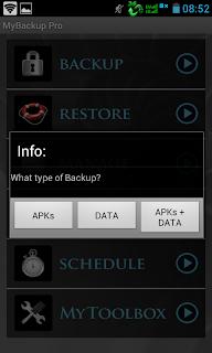 mybackup pro: pilih tipe backup