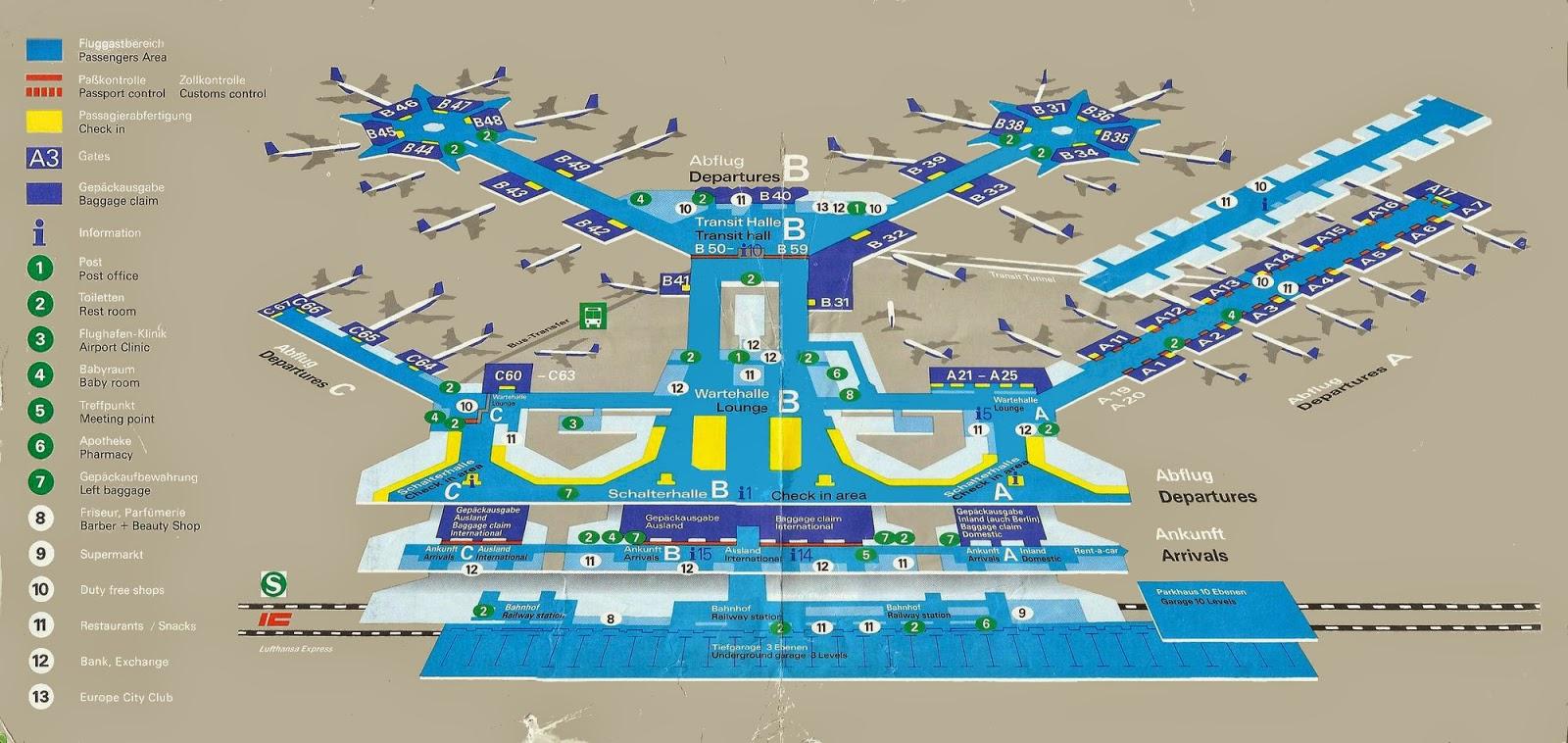 1988 frankfurt airport brochure with airport terminal maps