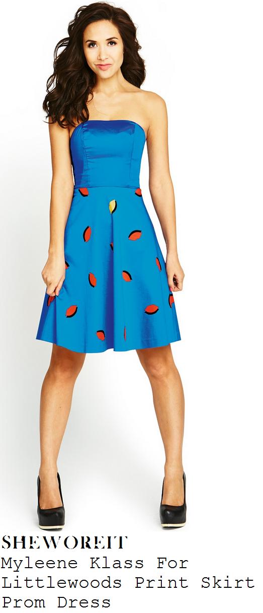 myleene-klass-bright-cobalt-blue-strapless-bandeau-lip-print-skirt-prom-dress-cannes