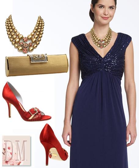 Vestido azul royal com acessorios vermelhos