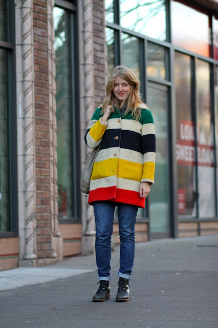 Katrina Thompson Stylist Pendleton Rainbow Coat Seattle Street Style fashion it's my darlin'