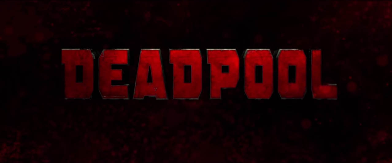 Deadpool 2016 super hero movie title card directed by Tim Miller with screenplay by Rhett Reese and Paul Wernick starring Ryan Reynolds, Morena Baccarin, Ed Skrein