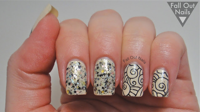 stamping striping glitter nail art 2