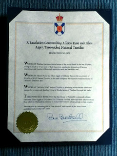 A Resolution Commending Alleson Kase and Ellen Agger, Tammachat Natural Textiles