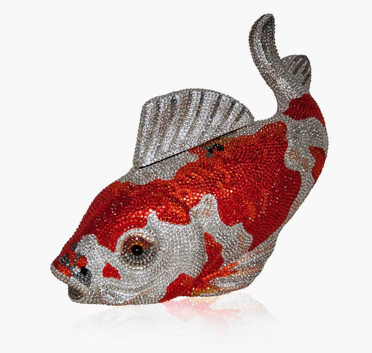 Judith Leiber Couture Koi Fish Crystal Minaudiere, Orange/Silver