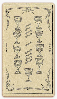 Nine of Chalices card - inked illustration - In the spirit of the Marseille tarot - minor arcana - design and illustration by Cesare Asaro - Curio & Co. (Curio and Co. OG - www.curioandco.com)