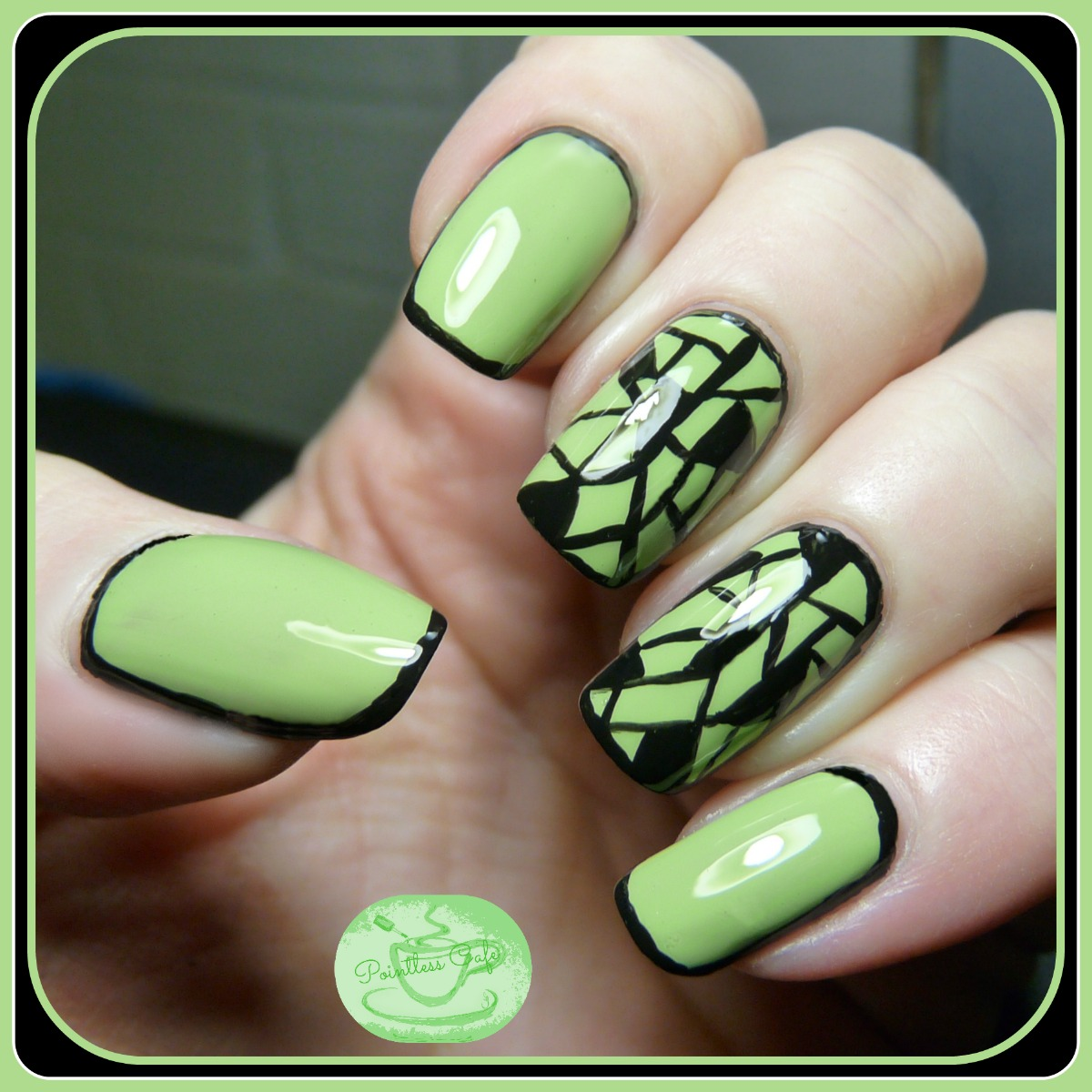 13 Days of January Nail Art Challenge: Green Base - Framed Mosaic ...