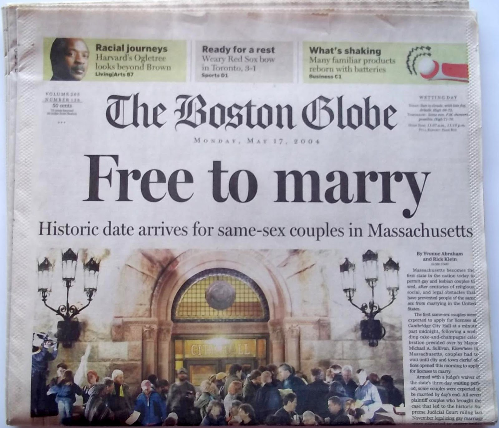 Image result for the 2004 massachusetts gay marriage ruling