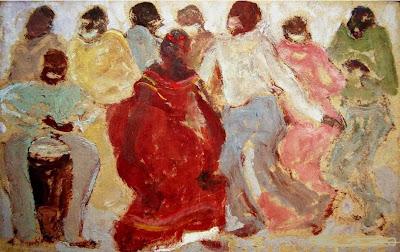 'Candombe', óleo sobre cartón del político, pensador y artista uruguayo don Pedro Figari, tomado de www.pedrofigari.com