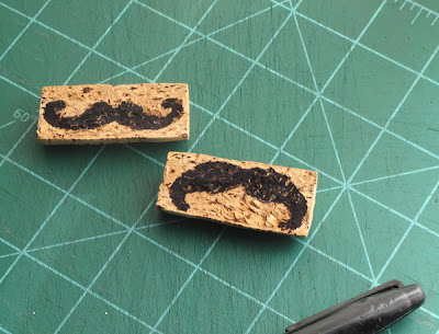 DIY handmade stamps using wine corks - mustaches for movember