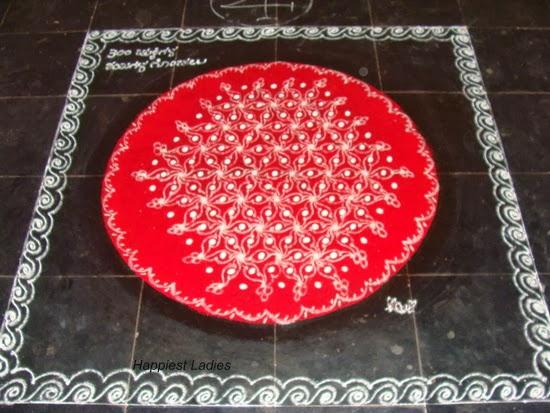 rangoli design on red background