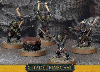 Figurki Władca Pierścieni LotR: SBG, Moria goblins command, grupa dowodzenia goblinów z Morii
