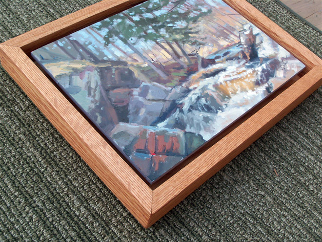 Painting from life floating l frame long slide falls oil for Framing canvas paintings