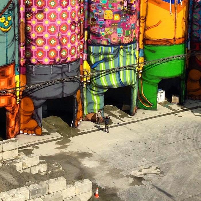 Silos Transformed Into Vibrant Murals
