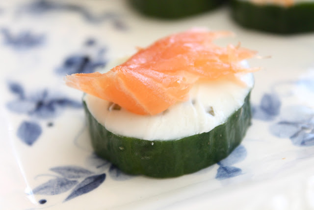 Salmon cucumber and cream cheese canape