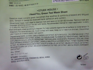 Green Tea Mask Sheet Etude House
