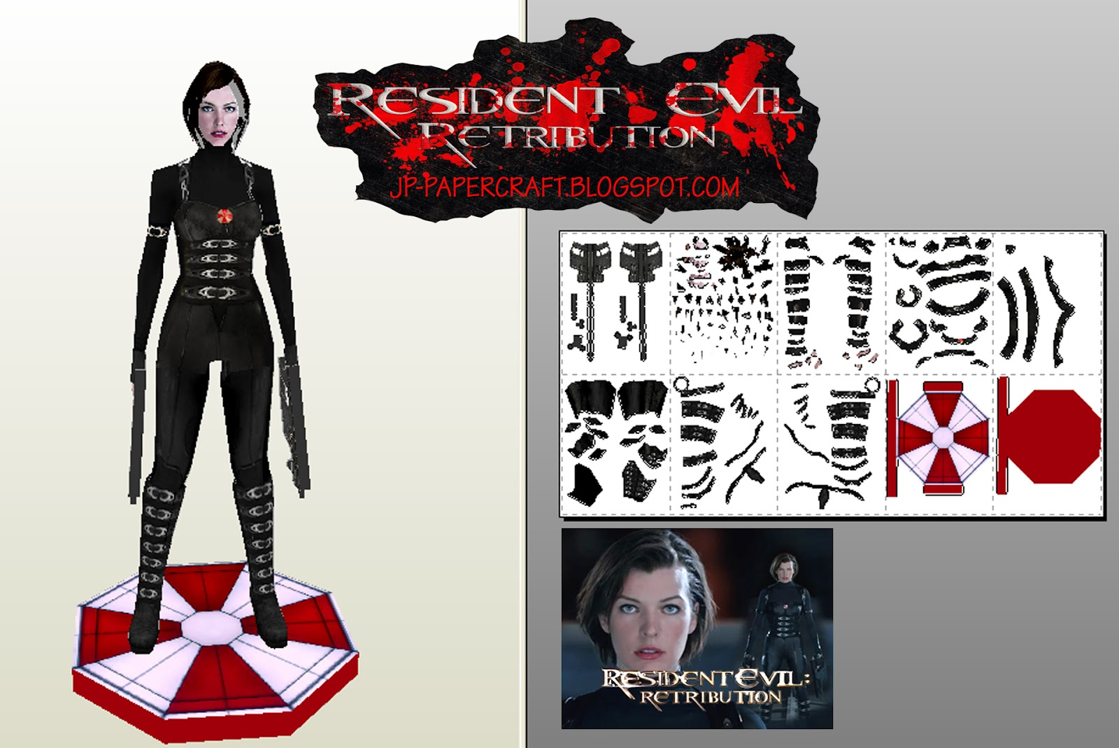 Resdient Evil Retribution Papercraft Alice