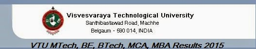 VTU MTech, BE, BTech, MCA, MBA Results 2015
