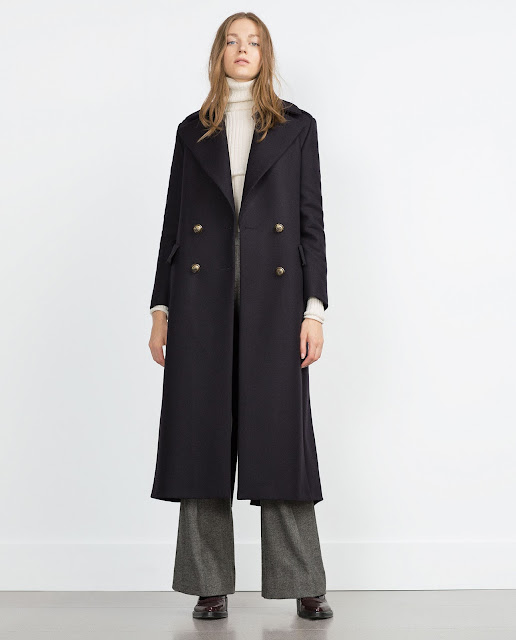 long navy coat zara,